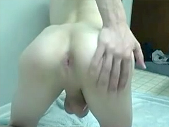 Young naked boy strokes his long fat cock on cam