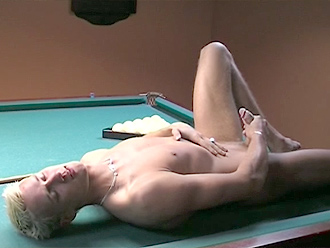 Sexy naked boy jerks off on a snooker table