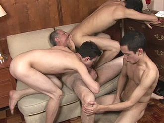 Older dude and his 3 young naked boys lovers