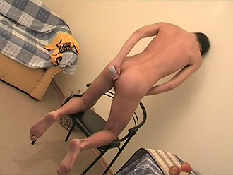 Nude boy masturbates in his bedroom
