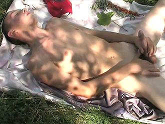 Nude boy masturbates on the bath towel