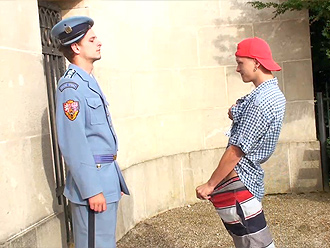 Playful nude boys seduce a guard