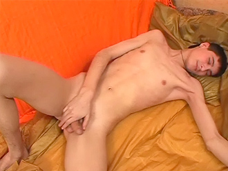 Young nude boy jerks off in his bedroom