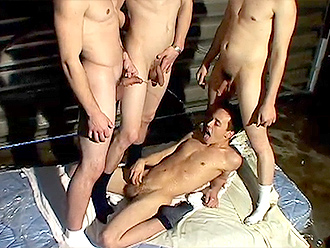 Gay pissing orgy