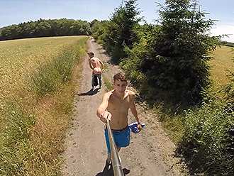 Nude boys with selfie pole
